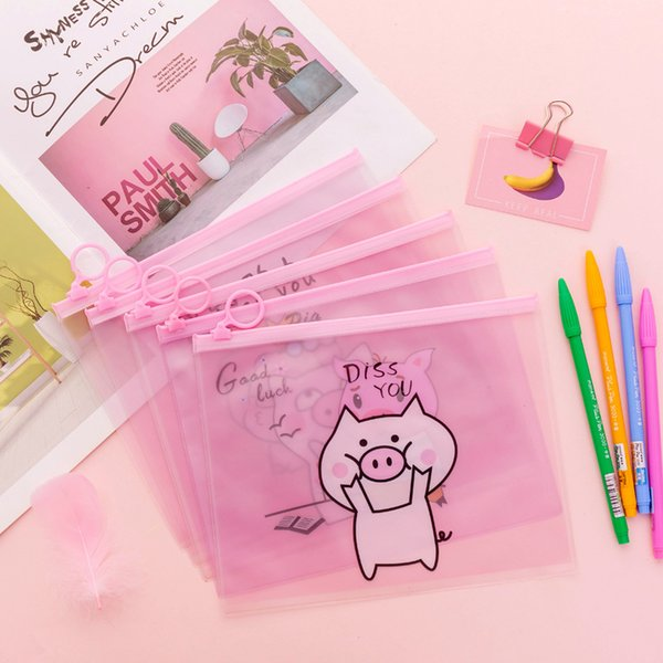 Cartoon Pig Unicorn Pencil Case Cactus Transparent pen pouch Kawaii stationery Gift Big capacity Storage bag school supplies