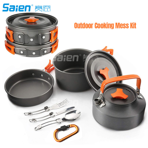 Camping Cookware Set 2person Camping Gear Campfire Utensils Non Stick Cooking Equipment Lightweight Stackable Pot Pan Bowls With Storage Bag Camping
