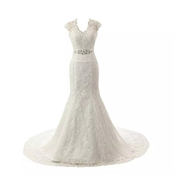 Embroidery Lace Mermaid Court Wedding Dresses Bridal Gowns Cap Sleeves Mermaid Beading Belt Lace and Applique Design Sexy Wedding Gown