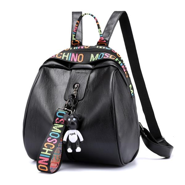 Kadın Sırt Çantası PU Deri Okul Çantası Kadın Rahat Tarzı Sevimli Ayı Sırt Genç Kız Koleji öğrenci rahat çanta 6873