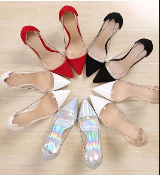free shipping high stiletto toe transparent naked 2019 new style fashion web celebrity shoes 33- 39