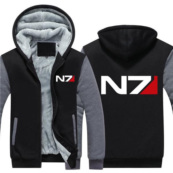 2019 Hommes Mass Effect N7 Zipper Veste Sweat Épaissir À Capuche Manteau Casual Sweat Hommes Mode Sweat À Capuche Streetwear