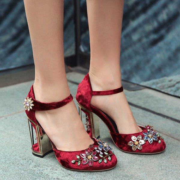 Phoentin Crystal Flower Mary Janes Mujeres Bombea Zapatos Strange High Heels 10cm Hook Loop Rhinestone hecho a mano zapatos de boda FT028