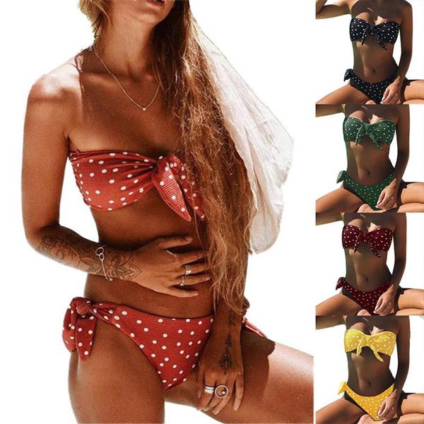 2pcs Mujeres punto de impresión de Bowtie del sujetador sin tirantes slips Conjunto Sexy Beach Swimsuit nuevo chic