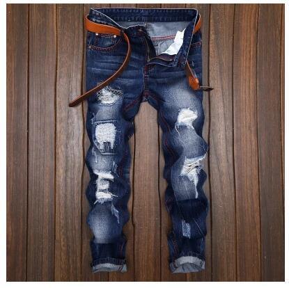 Jeans para hombre Jeans de motociclista Talla 28 42 rock revival skinny Slim ripped Popular Hip Hop mendigo agujero Pantalones de mezclilla Hombres jeans de diseñador 009