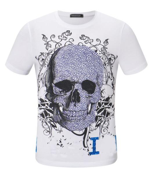 Phillip Plain brand men t shirt classic skull printing tee designer mens summer T-shirt cotton top quality T-shirs leisure explosion tees