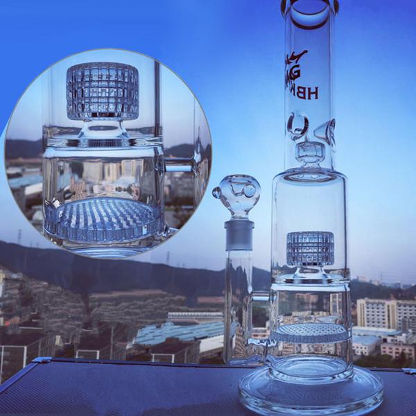 HBKING 16 inch Tall bong scientific glass water pipe big dab rig matrix honeycomb percolator oil rig bong with 18mm bowl