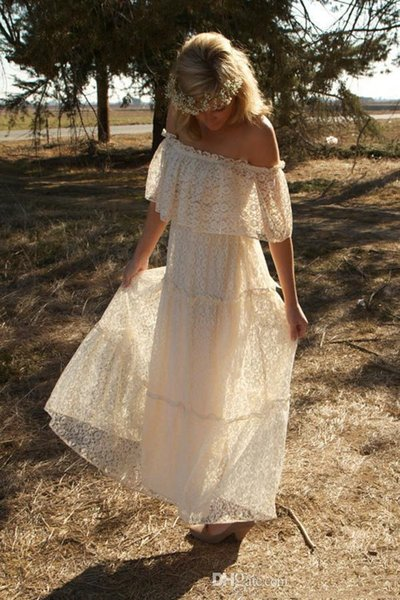 top popular Vintage Style Boho Off the Shoulder Floor Length Beach Bridal Gowns Custom Made 2019 Charming White Lace Bohemian Evening Dresses 2019