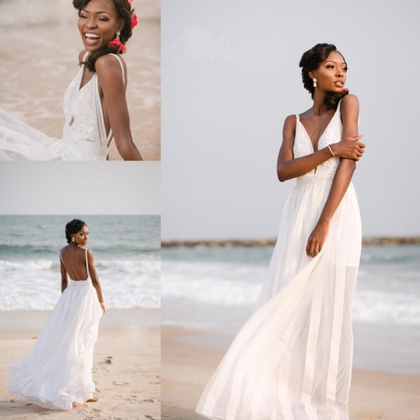 Discount Simple Beach Wedding Dresses 2019 Summer Spaghetti Sexy Deep V Neck Bridal Gowns Backless Chiffon Lace Appliques Cheap Wedding Gowns Dress