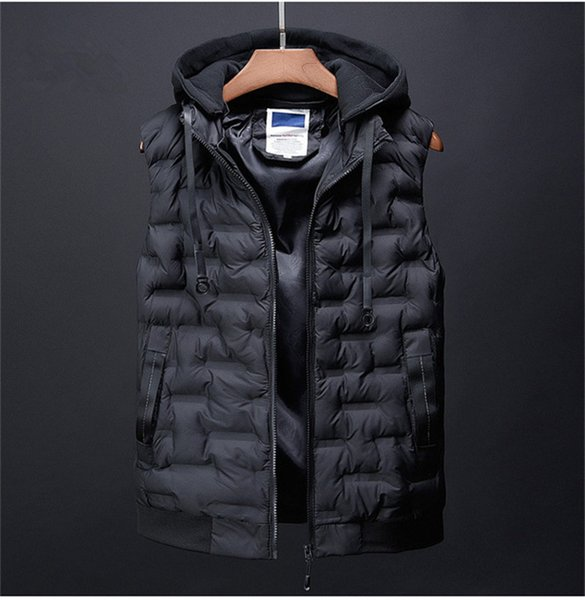 top popular Mens Designer Solid Colors Vests Fashion Autumn Winter Warm Parkas Hooded Vests Mens Casual Thick Clothes 2020