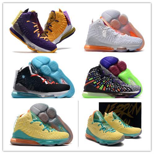 LeBron 17 Gelecek Lakers Patlıcan Erkek Basketbol ayakkabıları Siyah ve beyaz yeşim Gölü insanları gri renk ve yaprak döken James 17 Siyah Beyaz Desi