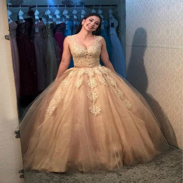 Gold engagement prom dresses Ball Gown Appliques Lace floor length Vintage quinceanera dresses Beautiful Sheer Back tulle Evening Gowns 2017