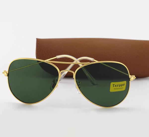 1 stücke Marke Designer Grüne linse Sonnenbrille Txrppr Klassische Pilot sonnenbrille gold rahmen für Männer Frauen brille UV400 58mm linse kommen braun box