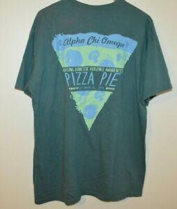 Comfort Colors Alpha Chi Omega Pizza T-Shirt Mens Large Garment Dyed
