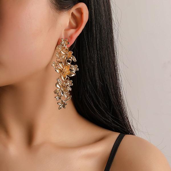 2019 nouvelles fleurs boucles d'oreilles femmes déclaration géométrique boucle d'oreille en métal bijoux de mode cadeau