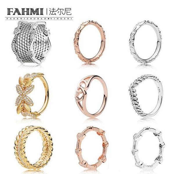 FAHMI 100% Argent 925 SHINE GRAINS DE L'ÉNERGIE ROSE RING Couronné HEARTS RING DENTELLE DE L'AMOUR ANNEAUX REGAL PATRON Graines RING