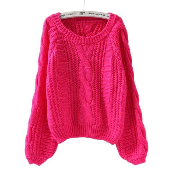 Новые Женщины Повседневная O-образным вырезом слоеного рукав сгущает сгущает, пуловер, вязаный пуловер Solid зима Без свитера