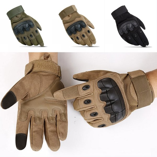 High Quality Men Tactical Gloves Rubber Shooting Full Finger Gloves Outdoor Sports Cycling Bicycle Hunting Hard Knuckle Glove 3 Colors G695F