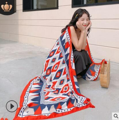180x90cm Korean Fashion Style Schal Strandtuch Fotodruck allgleiches Strandtourismus Schal Dual-Use-Baumwolle verlängern Sonnencreme Gaze