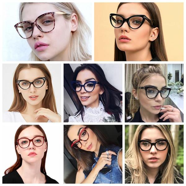 8 Estilos Nuevo Diseñador de la marca Mujeres Gafas de sol Hombres teñidos Gafas de sol con forma de ojo de gato vintage Gafas de mujer Gafas Marco al por mayor