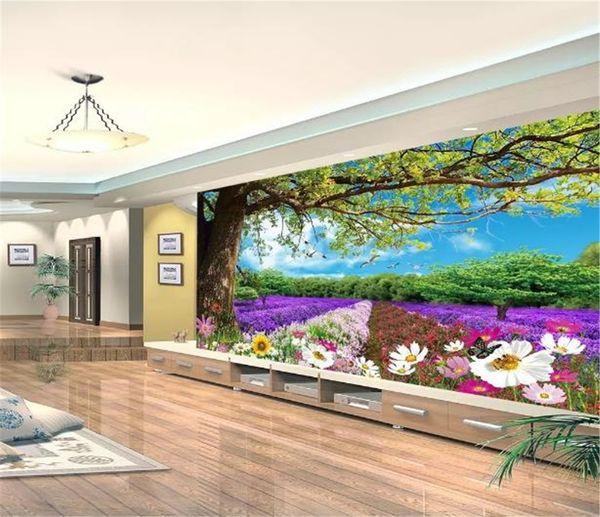 top popular Mural Wallpaper 3d Beautiful Big Tree Flower Dreamland 3D Landscape Painting Living Room Bedroom Background Wall Decoration Wallpaper 2021