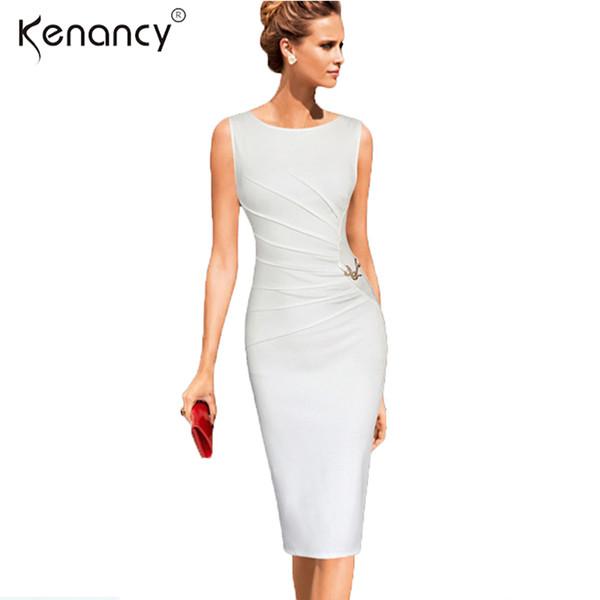Kenancy 4xl Plus Size Elegant Ruched Metal-trim Pencil Dress Women Party & Work Solid Color Sleveless Sheath Bodycon Vestidos Y19052901