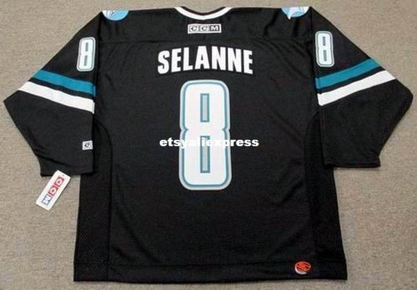 custom Mens TEEMU SELANNE San Jose Sharks 2002 CCM Jerseys Alternate Cheap Retro Hockey Jersey