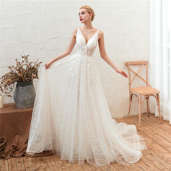 Vestidos de casamento espaguete A linha Beach vestidos de noiva Lace marfim saia de tule elegante branco simples vestidos de casamento em estoque barato