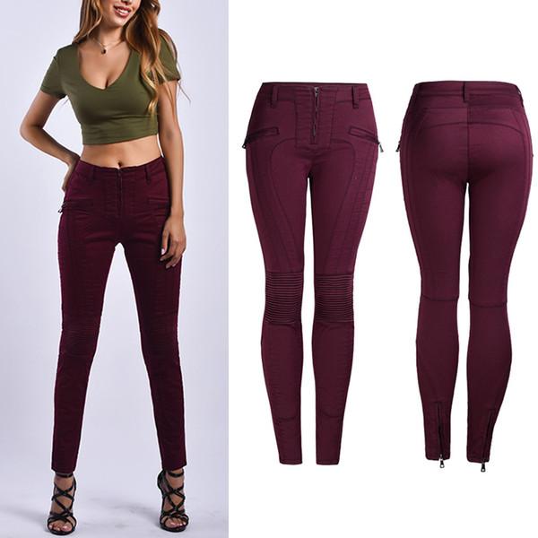 Großhandel Lady Motocycle Elastische Jeans Weiblich Weiß Rot Schwarz Schlank Bein Bleistift Denim Hosen Frauen Stretch Cowboy Hosen Von Bigget,
