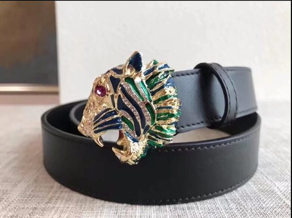 2019 new women's accessories brand leather belt luxury crystal tiger buckle solid color cowhide women's leather belt European and American f