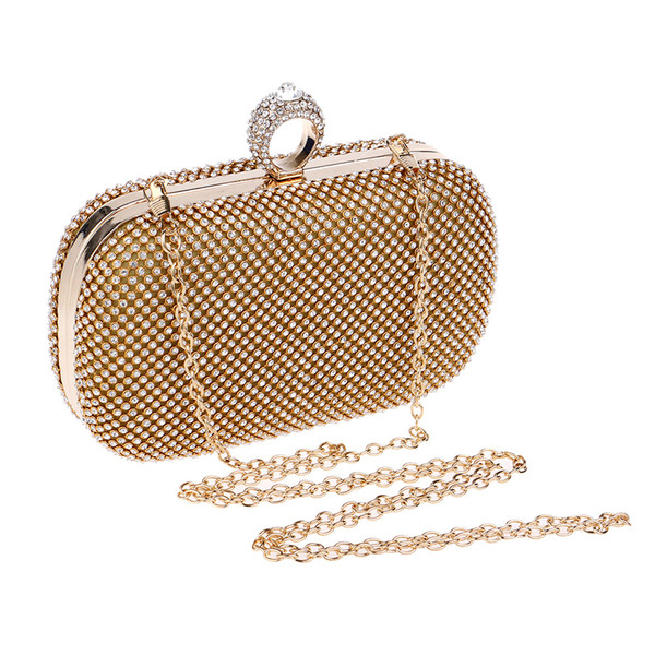 Two Side Rhinestones Women Evening Bag Chain Shoulder Handbags Diamonds Small Day Clutch Purse Evening Bag