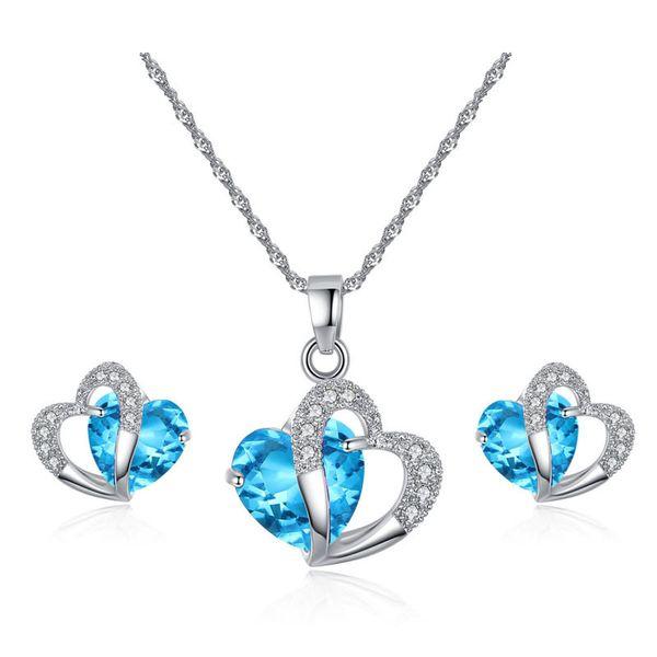 Cristal autrichien ensemble de bijoux zircone cubique CZ Double forme de coeur pendentif collier boucles d'oreilles ensembles pour les femmes bijoux de luxe cadeau