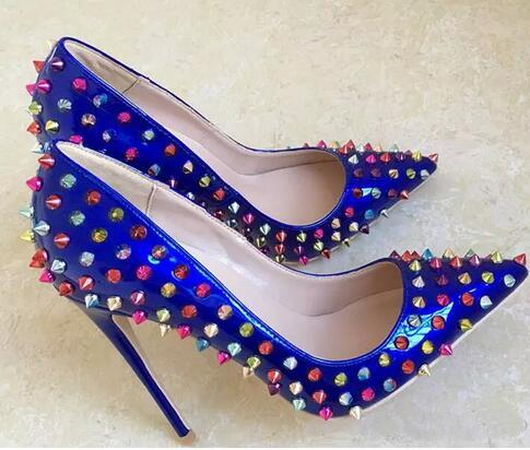 Free shipping fashion women pumps Gold patent studded spikes pointy toe high heels pumps shoes Stiletto Ladies Evening Party Pumps