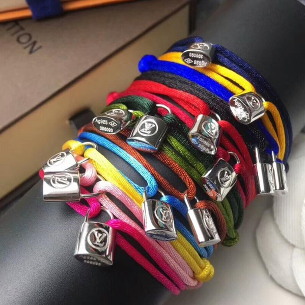 Women and man Handmade Rope with silver lock Bracelet Charm Titanium Stainless Steel many colors rope jewelry drop shipping 2019