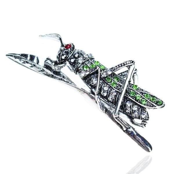 Kristall Strass Grashüpfer Broschen Mode Luxuxentwerfer Farbe Tier Broschen Pins Weinlese-Frauen Schmuck Designer-Stifte für Damen
