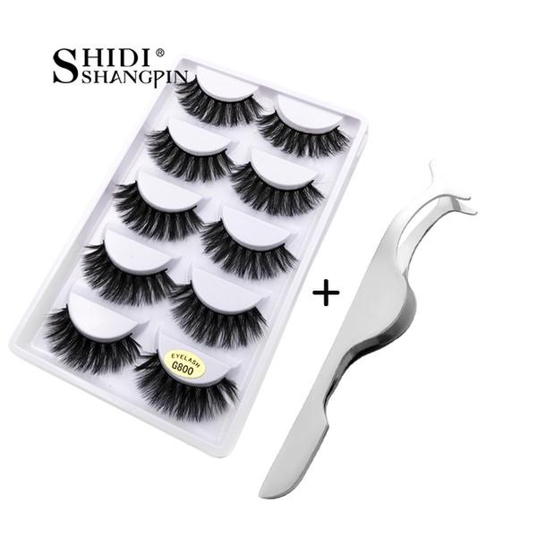 SHIDISHANGPIN 5 pairs mink eyelashes + 1 piece eyelash tweezers hand made false eyelashes natural long lashes makeup tools G8TW