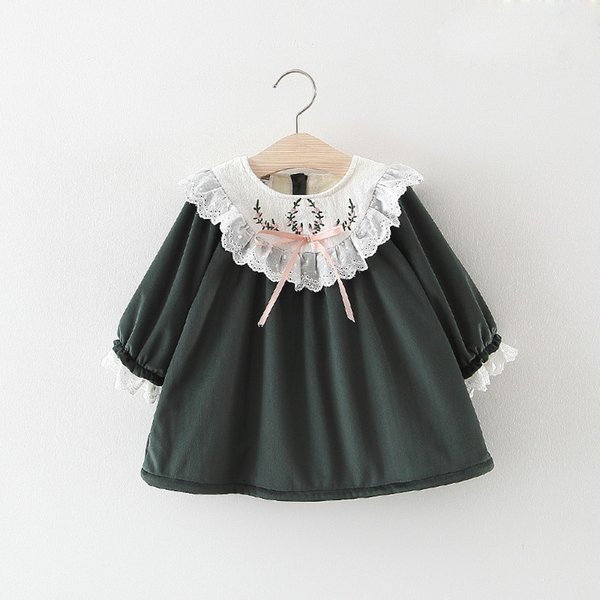 Kids Girls Dress Warm Autumn Winter Children's Clothing Velvet Princess Costumes New Year Tops For Baby Embroidery Lace Dresses Q190518