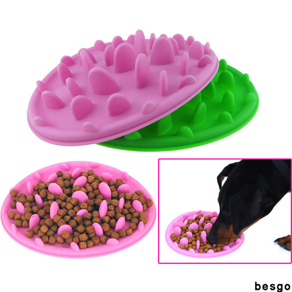 top popular Pet Dog Bowls Puppy Silicone Slow Eating Bowl Anti Choking Food Water Dish Cat Dogs Slow Eating Feeding Bowl Feeder 3 Colors DBC BH3035 2021