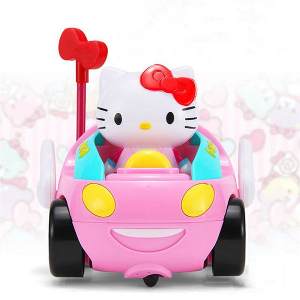 Hello Kitty RC Toys Children's Cartoon Remote Control Car Race Car Kawaii Hellokitty Baby Kids Creative Juetes Music Automotive Control Car