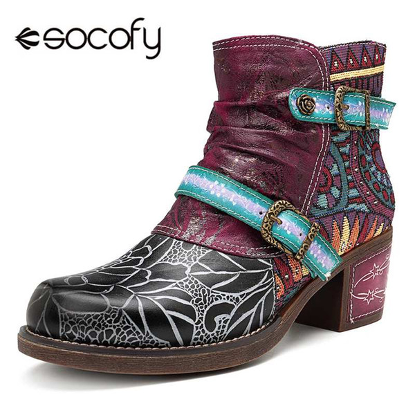 socofy printed genuine leather splicing ankle boots for women shoes woman autumn winter boots women block heels booties botas