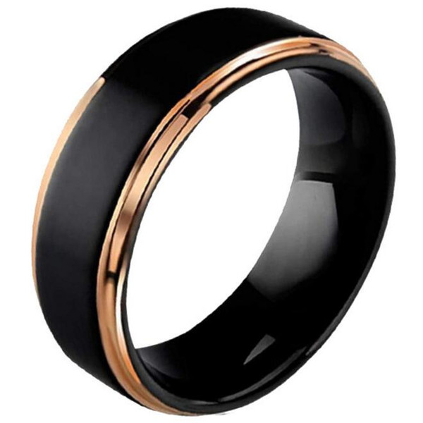 Wholesale-New Luminous male and female engagement Ring for Tungsten steel ring frosted black black gold rim tungsten gold ring