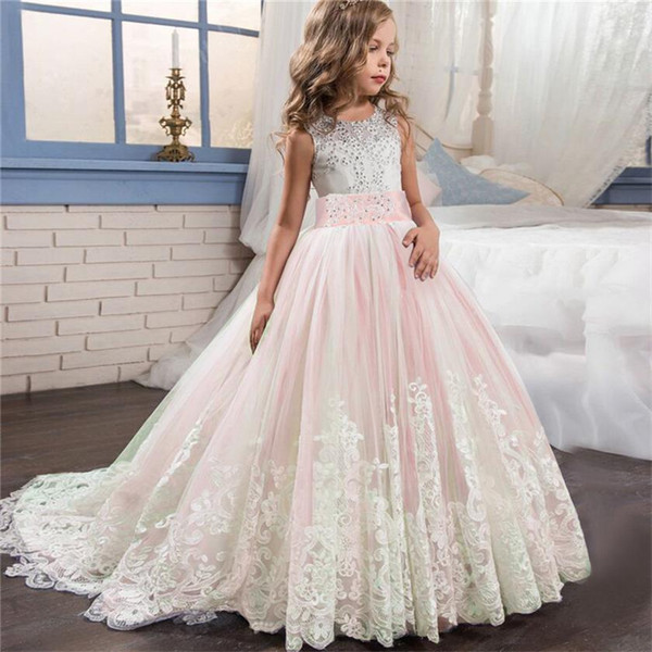 Bridesmaid Pageant Gown Girl Dress Girls Ceremony Kids Dresses for Teenager 10 12 14 Years Party Wedding Lace Children Clothes