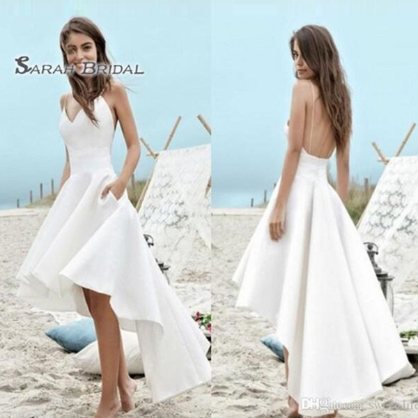 top popular 2019 Simple Long White A-Line Hi-Lo Bride Dress with Pockets Sexy Backless Beach Evening Wear Formal Gown High-end Wedding Boutique 2020
