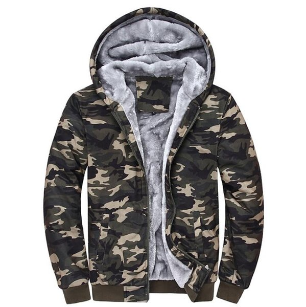 Nuevo camuflaje cálida lana de Softshell chaqueta al aire libre a prueba de viento camping con capucha del tamaño extra grande Senderismo jcaket