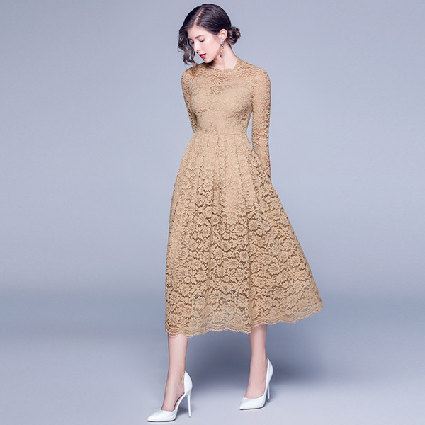 Womens hollow out crochet Lace Party Dresses 2019 Spring Autumn New Elegant Women Wedding Bridesmaid Long Ball Prom Gown Dress