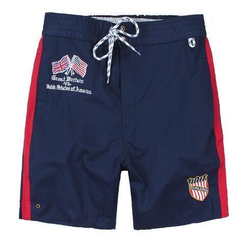 Global Men Casual Shorts Great Britain VS State Of America Flag Print Boys Beach Short Pants Cotton Sport Trunks White Navy Blue