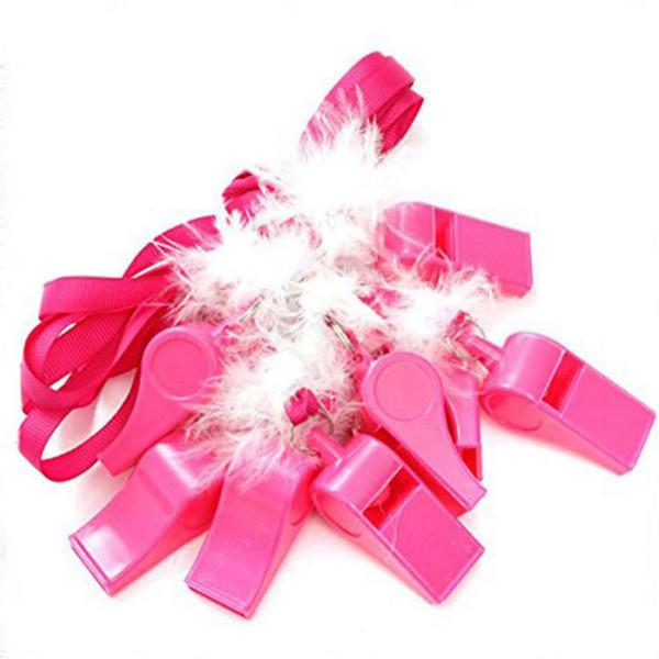 Sifflets en plastique rose chaud avec des plumes blanches de parti de sangle de sangle de poule sifflant pour le décor de festival