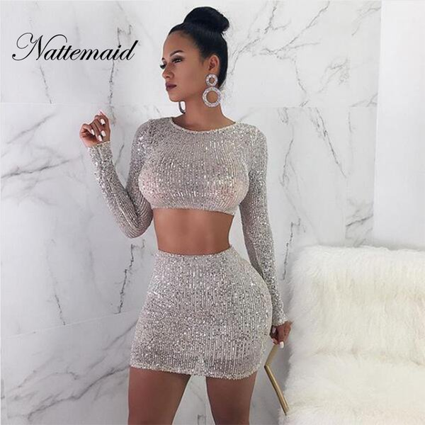 NATTEMAID Solid Color Silver Bodycon 2 Piece Set Women Clubwear Sexy Party Two Piece Set 2018 Autumn Sequin Women Skirt