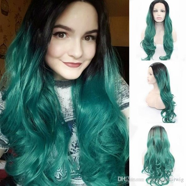 New Hairstyle Two Tones Black To Green Synthetic Wig Heat Resistant Fiber Natural Wave Ombre Green Lace Front Long Hair Wig For Women