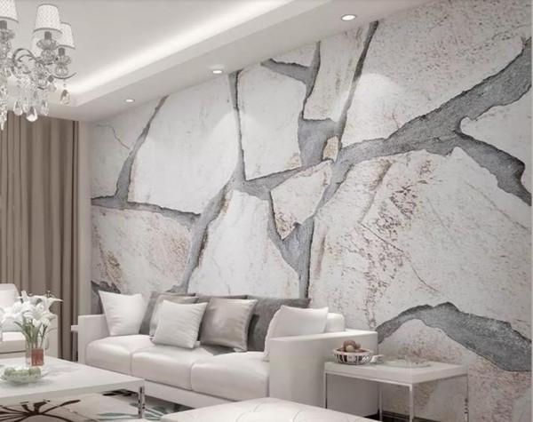 Tapete 3d Wandbild benutzerdefinierte Wohnzimmer Schlafzimmer Wohnkultur HDModern minimalistischen einfachen Marmor Textur 3D Wallpaper Tv Hintergrundwand